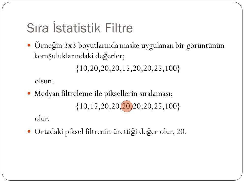 Sıra İstatistik Filtre Örne ğ in 3x3 boyutlarında maske uygulanan bir görüntünün kom ş uluklarındaki de ğ erler; {10,20,20,20,15,20,20,25,100} olsun.