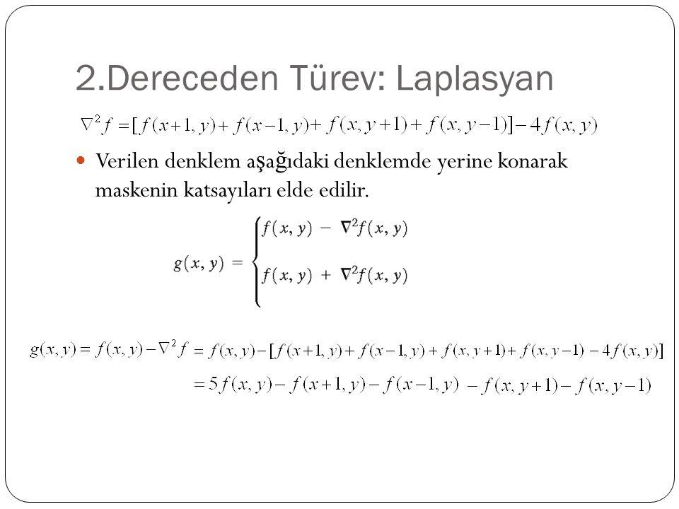 2.Dereceden Türev: Laplasyan Verilen denklem a ş a ğ ıdaki denklemde yerine konarak maskenin katsayıları elde edilir.