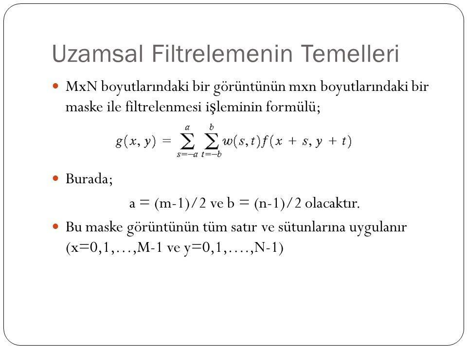 Uzamsal Filtrelemenin Temelleri MxN boyutlarındaki bir görüntünün mxn boyutlarındaki bir maske ile filtrelenmesi i ş leminin formülü; Burada; a = (m-1