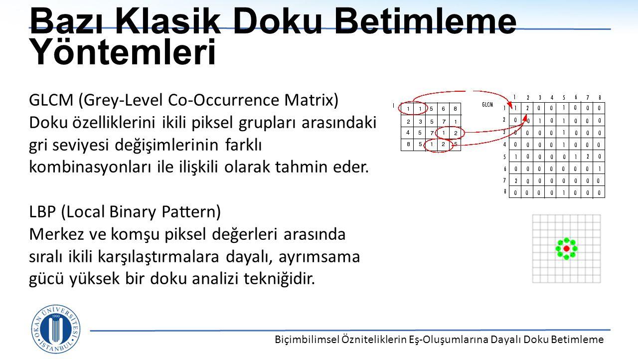 Bazı Klasik Doku Betimleme Yöntemleri Biçimbilimsel Özniteliklerin Eş-Oluşumlarına Dayalı Doku Betimleme GLCM (Grey-Level Co-Occurrence Matrix) Doku ö