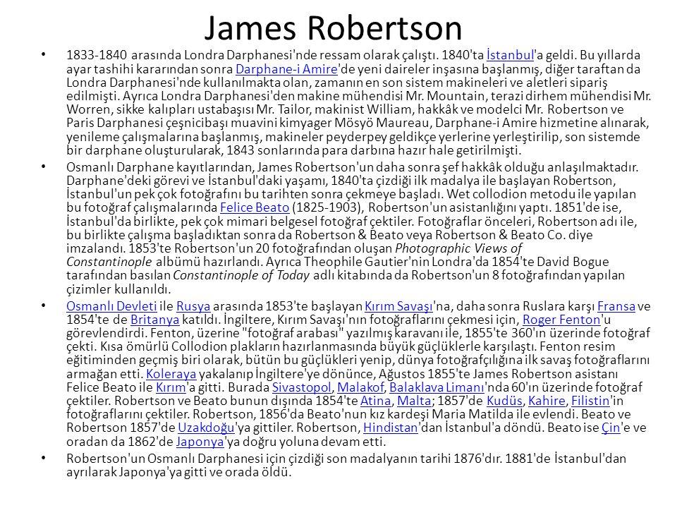 James Robertson 1833-1840 arasında Londra Darphanesi nde ressam olarak çalıştı.