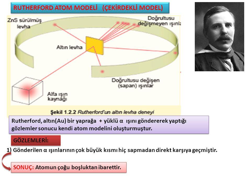 RUTHERFORD ATOM MODELİ (ÇEKİRDEKLİ MODEL) Rutherford, altın(Au) bir yaprağa + yüklü α ışını göndererek yaptığı gözlemler sonucu kendi atom modelini oluşturmuştur.
