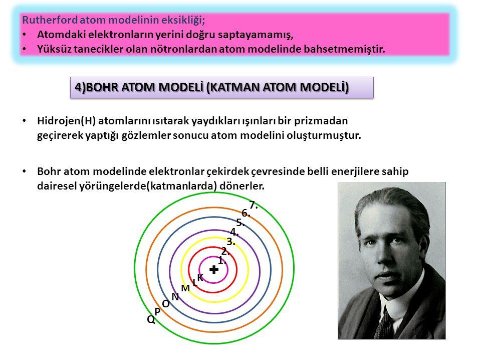 Rutherford atom modelinin eksikliği; Atomdaki elektronların yerini doğru saptayamamış, Yüksüz tanecikler olan nötronlardan atom modelinde bahsetmemiştir.
