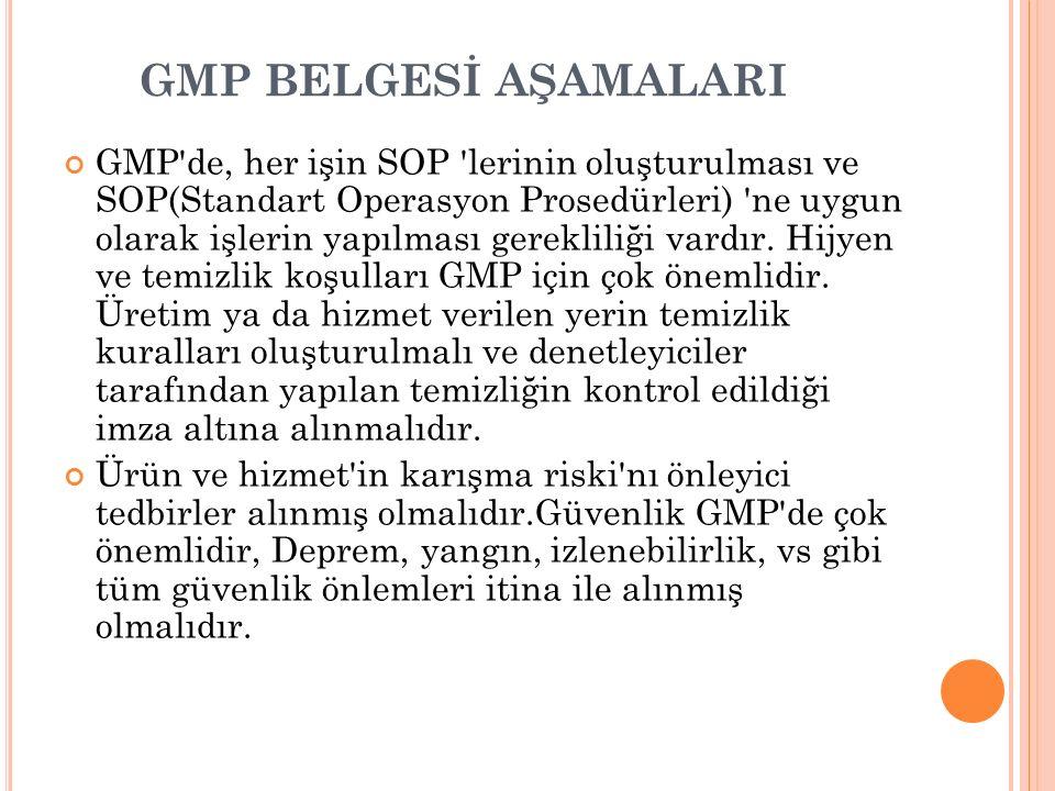 GMP BELGESİ AŞAMALARI GMP'de, her işin SOP 'lerinin oluşturulması ve SOP(Standart Operasyon Prosedürleri) 'ne uygun olarak işlerin yapılması gereklili