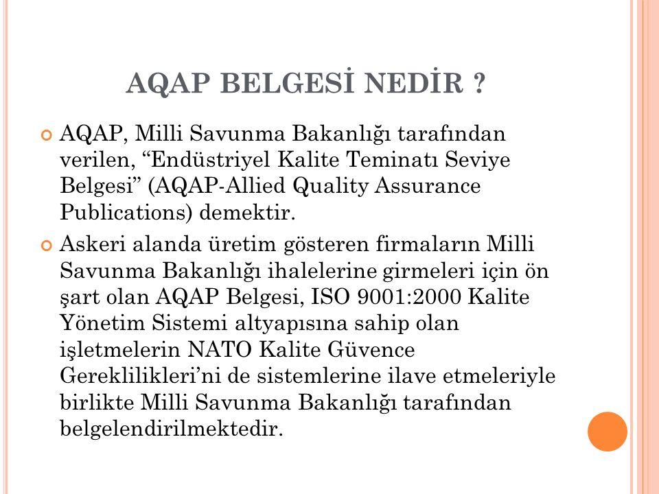 """AQAP BELGESİ NEDİR ? AQAP, Milli Savunma Bakanlığı tarafından verilen, """"Endüstriyel Kalite Teminatı Seviye Belgesi"""" (AQAP-Allied Quality Assurance Pub"""