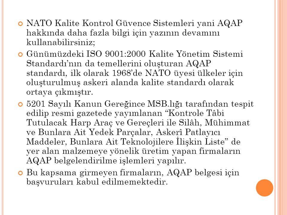 NATO Kalite Kontrol Güvence Sistemleri yani AQAP hakkında daha fazla bilgi için yazının devamını kullanabilirsiniz; Günümüzdeki ISO 9001:2000 Kalite Y