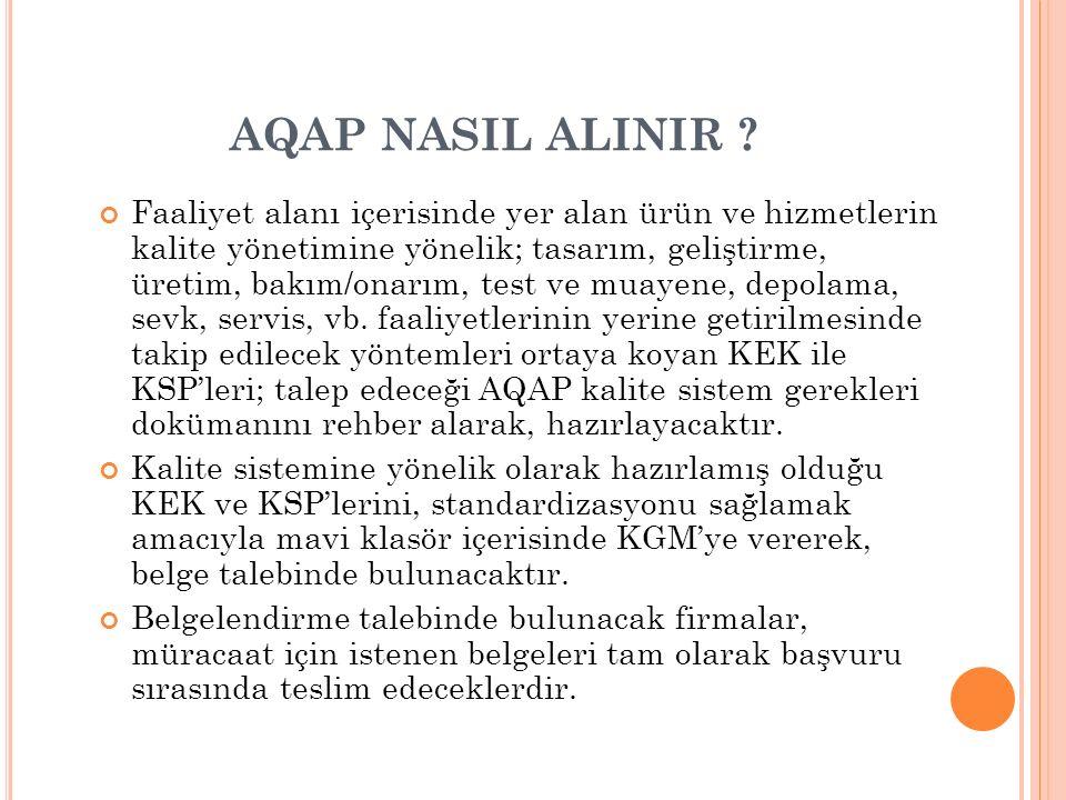 AQAP NASIL ALINIR ? Faaliyet alanı içerisinde yer alan ürün ve hizmetlerin kalite yönetimine yönelik; tasarım, geliştirme, üretim, bakım/onarım, test