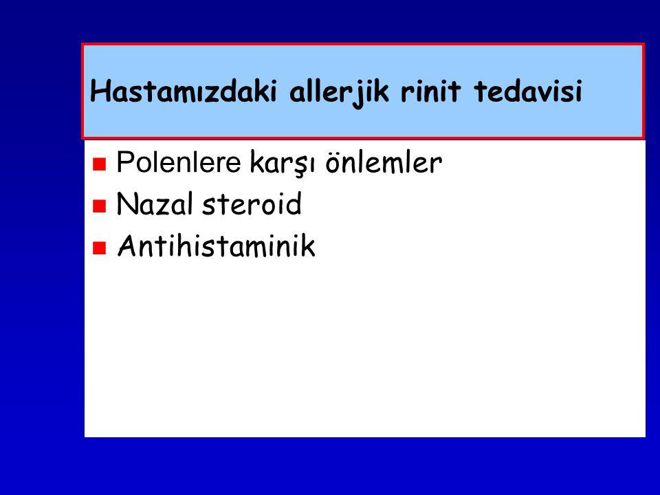 Hastamızdaki allerjik rinit tedavisi Polenlere karşı önlemler Nazal steroid Antihistaminik