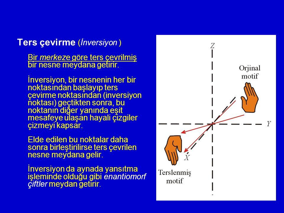 Ters çevirme (İnversiyon ) Bir merkeze göre ters çevrilmiş bir nesne meydana getirir. İnversiyon, bir nesnenin her bir noktasından başlayıp ters çevir