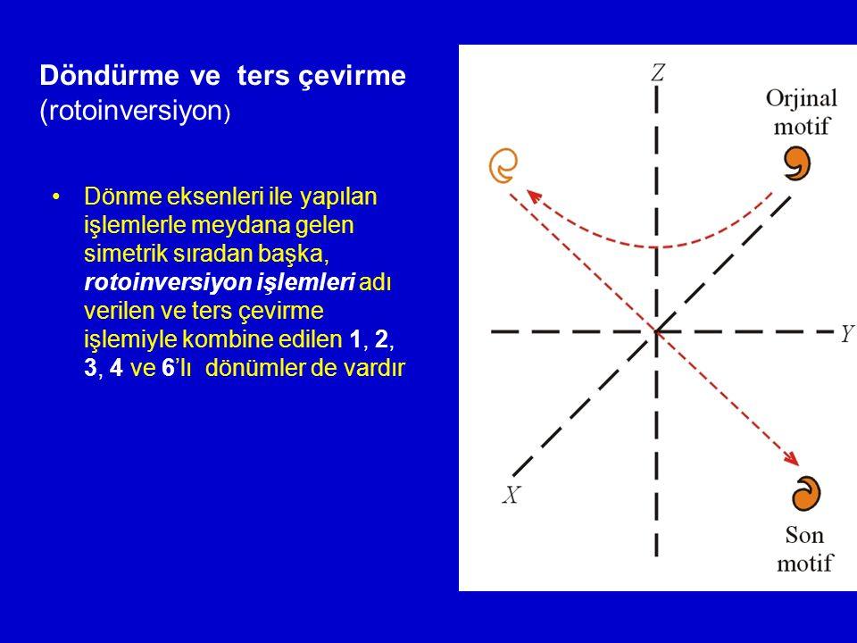 Dönme eksenleri ile yapılan işlemlerle meydana gelen simetrik sıradan başka, rotoinversiyon işlemleri adı verilen ve ters çevirme işlemiyle kombine ed