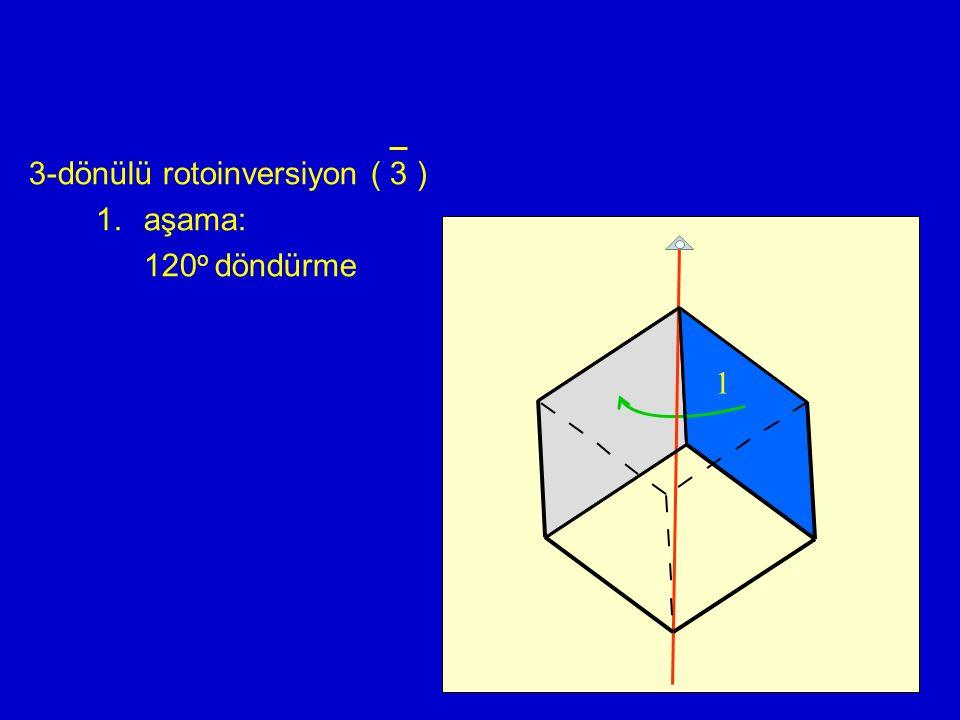3-dönülü rotoinversiyon ( 3 ) 1.aşama: 120 o döndürme 1