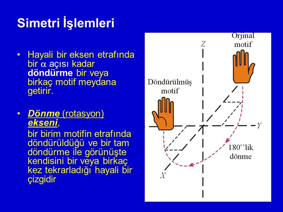 Simetri İşlemleri Hayali bir eksen etrafında bir  açısı kadar döndürme bir veya birkaç motif meydana getirir. Dönme (rotasyon) ekseni, bir birim moti