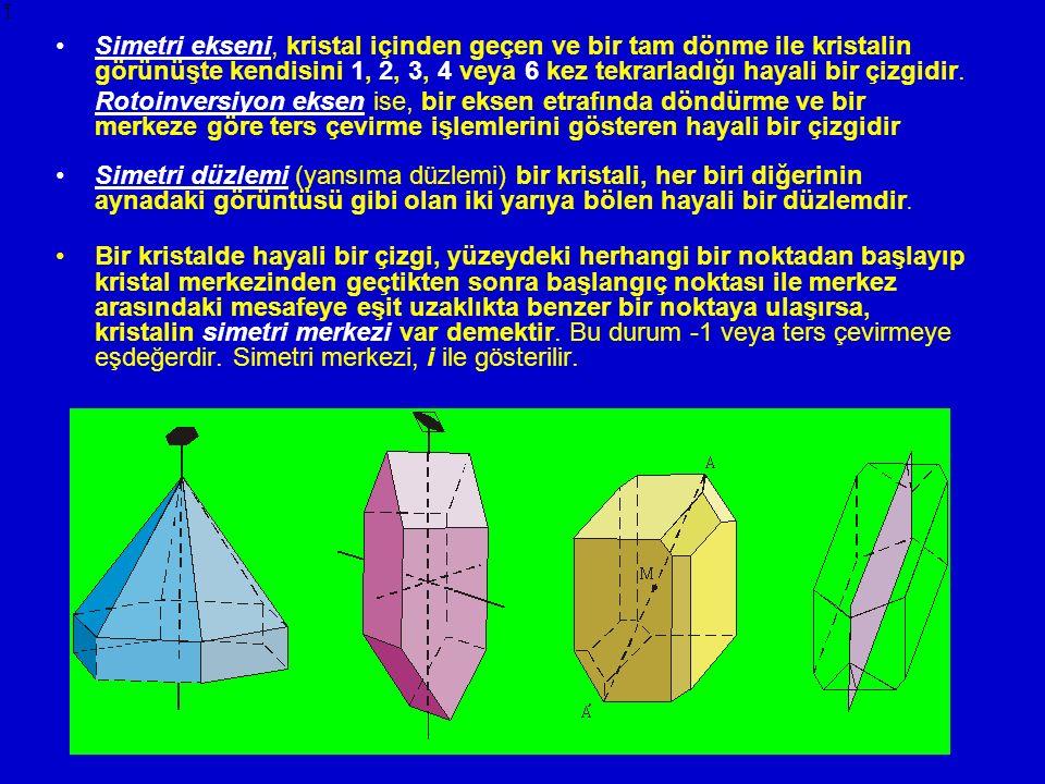 Simetri ekseni, kristal içinden geçen ve bir tam dönme ile kristalin görünüşte kendisini 1, 2, 3, 4 veya 6 kez tekrarladığı hayali bir çizgidir. Rotoi