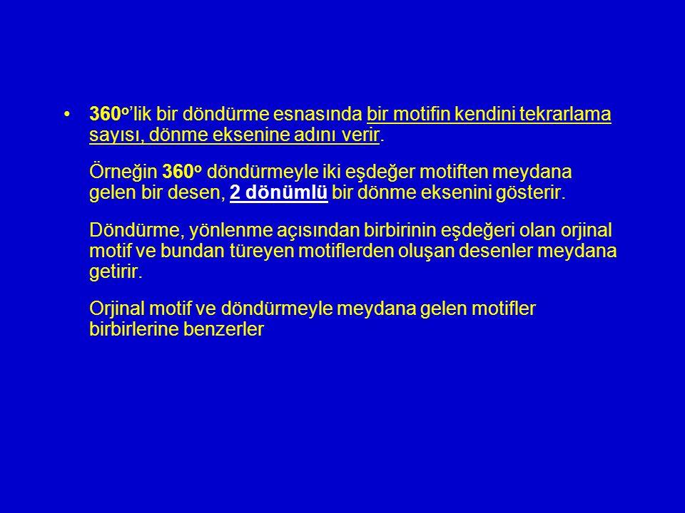 360 o 'lik bir döndürme esnasında bir motifin kendini tekrarlama sayısı, dönme eksenine adını verir. Örneğin 360 o döndürmeyle iki eşdeğer motiften me