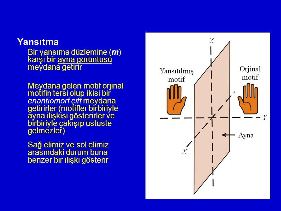 Yansıtma Bir yansıma düzlemine (m) karşı bir ayna görüntüsü meydana getirir Meydana gelen motif orjinal motifin tersi olup ikisi bir enantiomorf çift