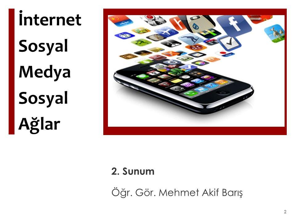 İnternet Sosyal Medya Sosyal Ağlar 2. Sunum Öğr. Gör. Mehmet Akif Barış 2
