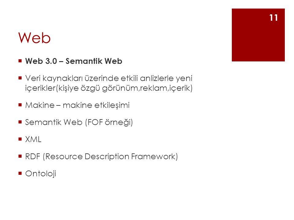Web  Web 3.0 – Semantik Web  Veri kaynakları üzerinde etkili anlizlerle yeni içerikler(kişiye özgü görünüm,reklam,içerik)  Makine – makine etkileşimi  Semantik Web (FOF örneği)  XML  RDF (Resource Description Framework)  Ontoloji 11