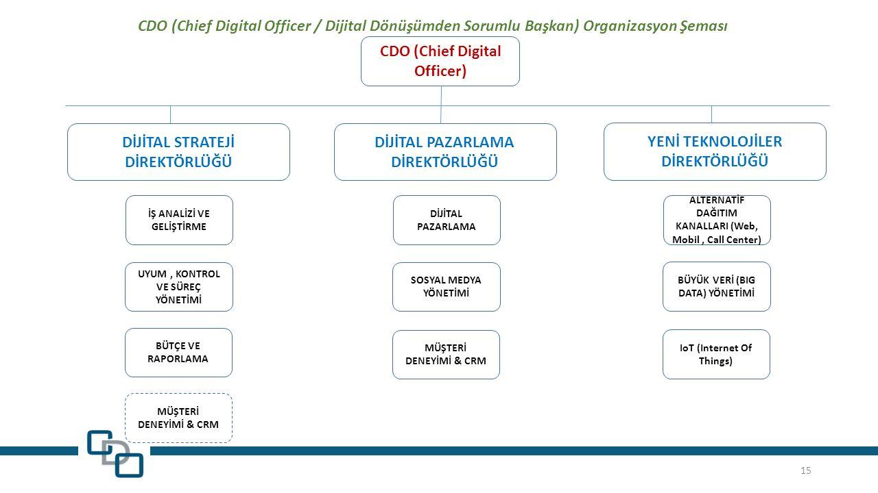 CDO (Chief Digital Officer) DİJİTAL STRATEJİ DİREKTÖRLÜĞÜ DİJİTAL PAZARLAMA DİREKTÖRLÜĞÜ YENİ TEKNOLOJİLER DİREKTÖRLÜĞÜ İŞ ANALİZİ VE GELİŞTİRME UYUM, KONTROL VE SÜREÇ YÖNETİMİ BÜTÇE VE RAPORLAMA DİJİTAL PAZARLAMA SOSYAL MEDYA YÖNETİMİ MÜŞTERİ DENEYİMİ & CRM ALTERNATİF DAĞITIM KANALLARI (Web, Mobil, Call Center) BÜYÜK VERİ (BIG DATA) YÖNETİMİ IoT (Internet Of Things) CDO (Chief Digital Officer / Dijital Dönüşümden Sorumlu Başkan) Organizasyon Şeması MÜŞTERİ DENEYİMİ & CRM 15