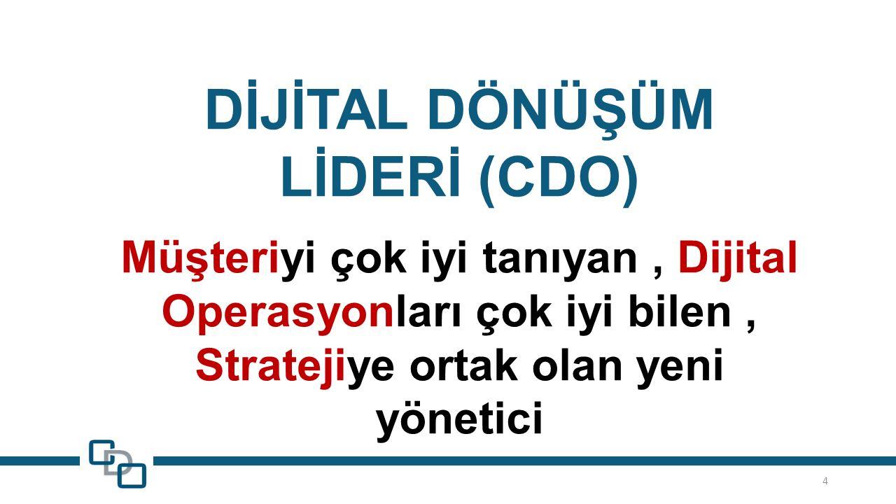 4 DİJİTAL DÖNÜŞÜM LİDERİ (CDO) Müşteriyi çok iyi tanıyan, Dijital Operasyonları çok iyi bilen, Stratejiye ortak olan yeni yönetici