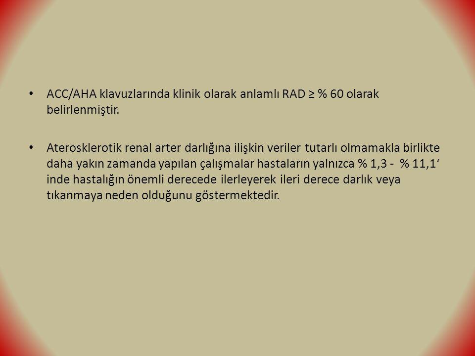 ACC/AHA klavuzlarında klinik olarak anlamlı RAD ≥ % 60 olarak belirlenmiştir.