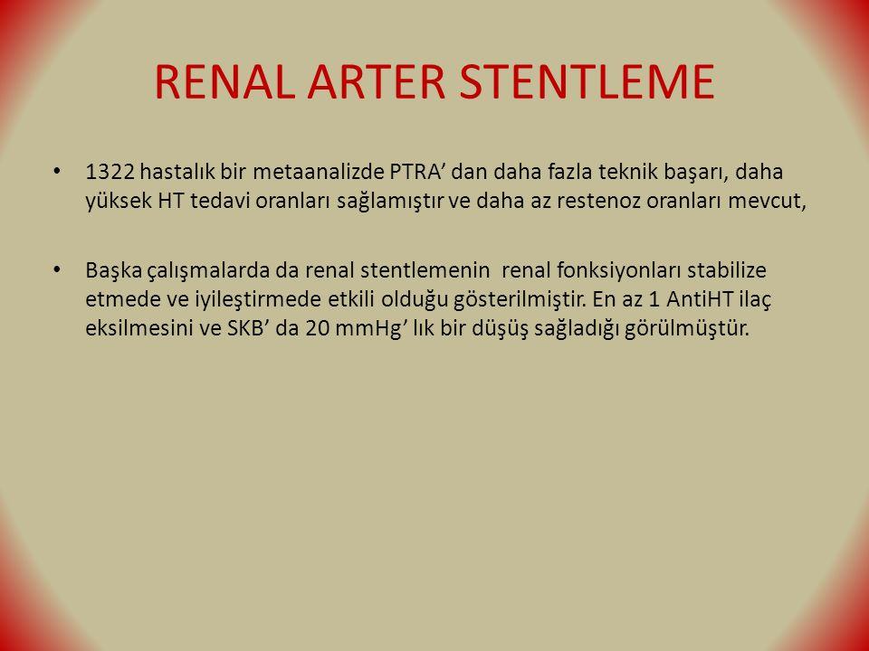 RENAL ARTER STENTLEME 1322 hastalık bir metaanalizde PTRA' dan daha fazla teknik başarı, daha yüksek HT tedavi oranları sağlamıştır ve daha az restenoz oranları mevcut, Başka çalışmalarda da renal stentlemenin renal fonksiyonları stabilize etmede ve iyileştirmede etkili olduğu gösterilmiştir.
