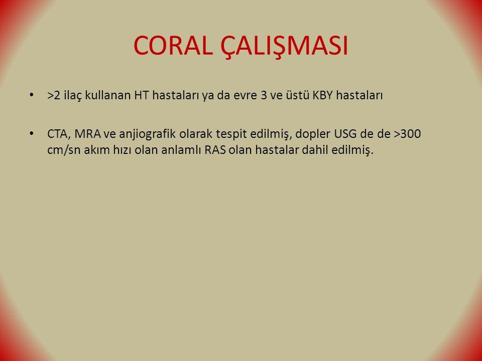 CORAL ÇALIŞMASI >2 ilaç kullanan HT hastaları ya da evre 3 ve üstü KBY hastaları CTA, MRA ve anjiografik olarak tespit edilmiş, dopler USG de de >300 cm/sn akım hızı olan anlamlı RAS olan hastalar dahil edilmiş.