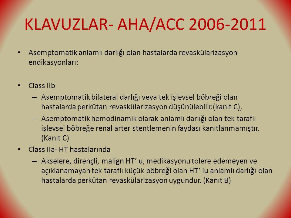 KLAVUZLAR- AHA/ACC 2006-2011 Asemptomatik anlamlı darlığı olan hastalarda revaskülarizasyon endikasyonları: Class IIb – Asemptomatik bilateral darlığı veya tek işlevsel böbreği olan hastalarda perkütan revaskülarizasyon düşünülebilir.(kanıt C), – Asemptomatik hemodinamik olarak anlamlı darlığı olan tek taraflı işlevsel böbreğe renal arter stentlemenin faydası kanıtlanmamıştır.
