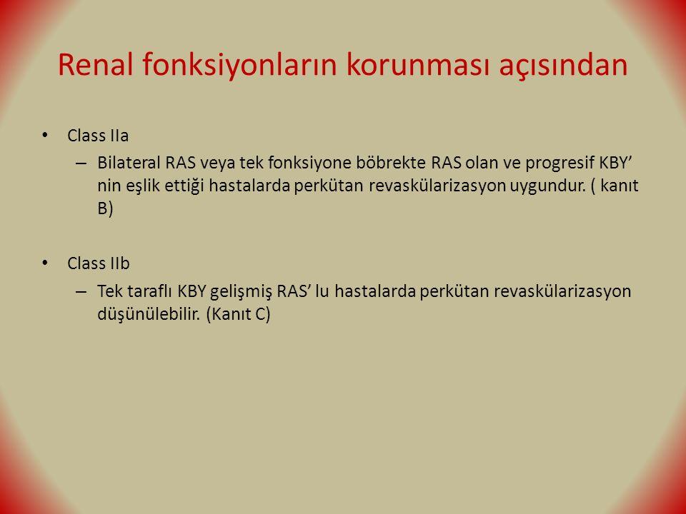 Renal fonksiyonların korunması açısından Class IIa – Bilateral RAS veya tek fonksiyone böbrekte RAS olan ve progresif KBY' nin eşlik ettiği hastalarda perkütan revaskülarizasyon uygundur.