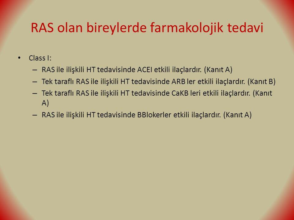 RAS olan bireylerde farmakolojik tedavi Class I: – RAS ile ilişkili HT tedavisinde ACEI etkili ilaçlardır. (Kanıt A) – Tek taraflı RAS ile ilişkili HT