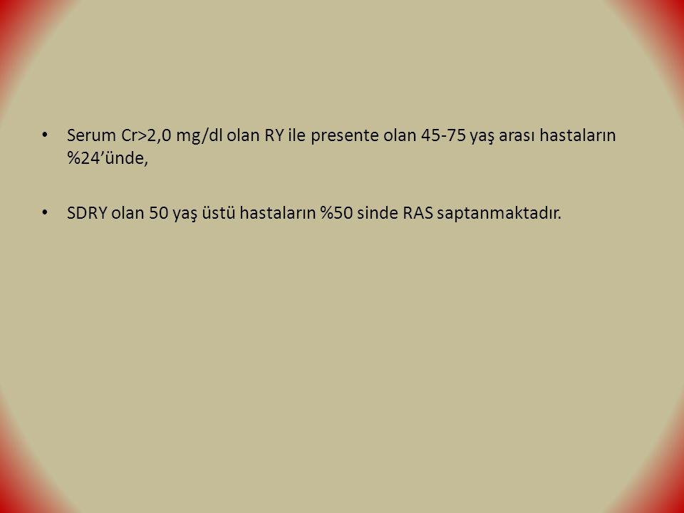 Serum Cr>2,0 mg/dl olan RY ile presente olan 45-75 yaş arası hastaların %24'ünde, SDRY olan 50 yaş üstü hastaların %50 sinde RAS saptanmaktadır.