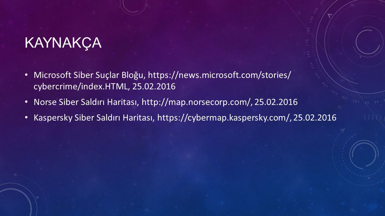 KAYNAKÇA Microsoft Siber Suçlar Bloğu, https://news.microsoft.com/stories/ cybercrime/index.HTML, 25.02.2016 Norse Siber Saldırı Haritası, http://map.