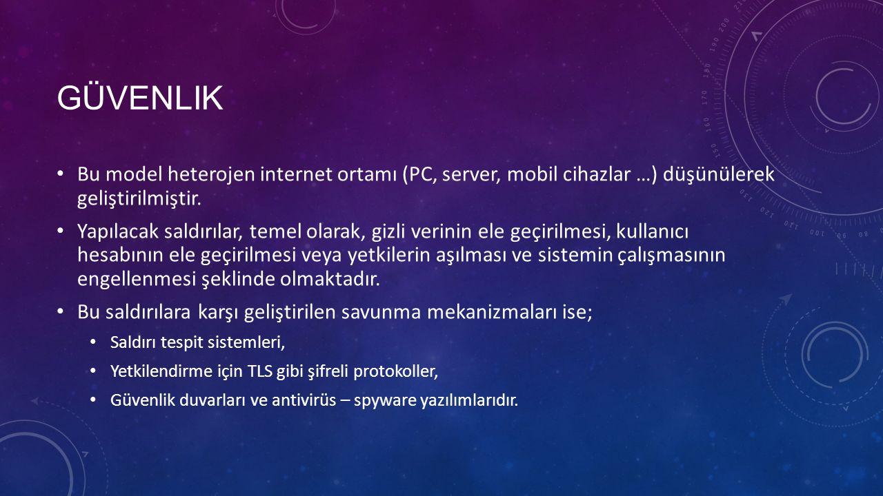 GÜVENLIK Bu model heterojen internet ortamı (PC, server, mobil cihazlar …) düşünülerek geliştirilmiştir. Yapılacak saldırılar, temel olarak, gizli ver