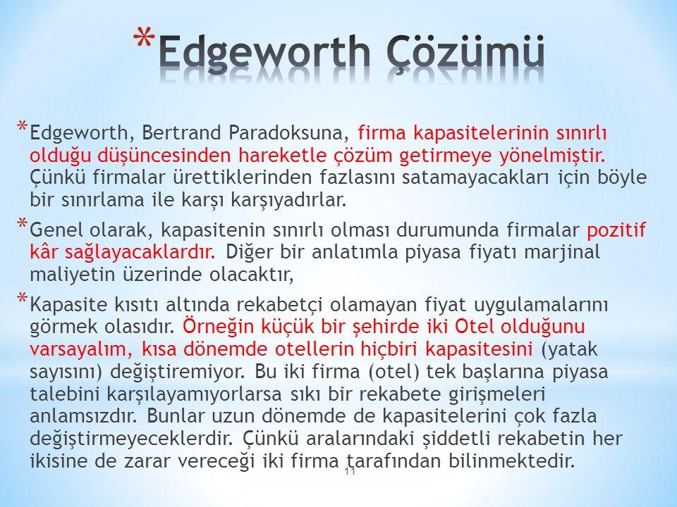 * Edgeworth, Bertrand Paradoksuna, firma kapasitelerinin sınırlı olduğu düşüncesinden hareketle çözüm getirmeye yönelmiştir.