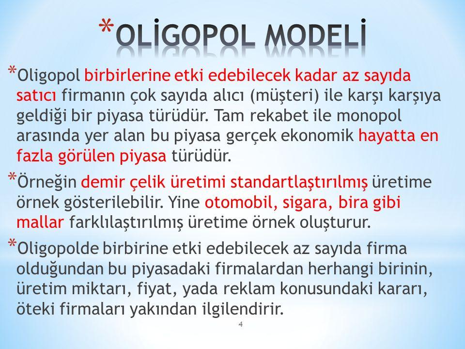 * Oligopol birbirlerine etki edebilecek kadar az sayıda satıcı firmanın çok sayıda alıcı (müşteri) ile karşı karşıya geldiği bir piyasa türüdür.