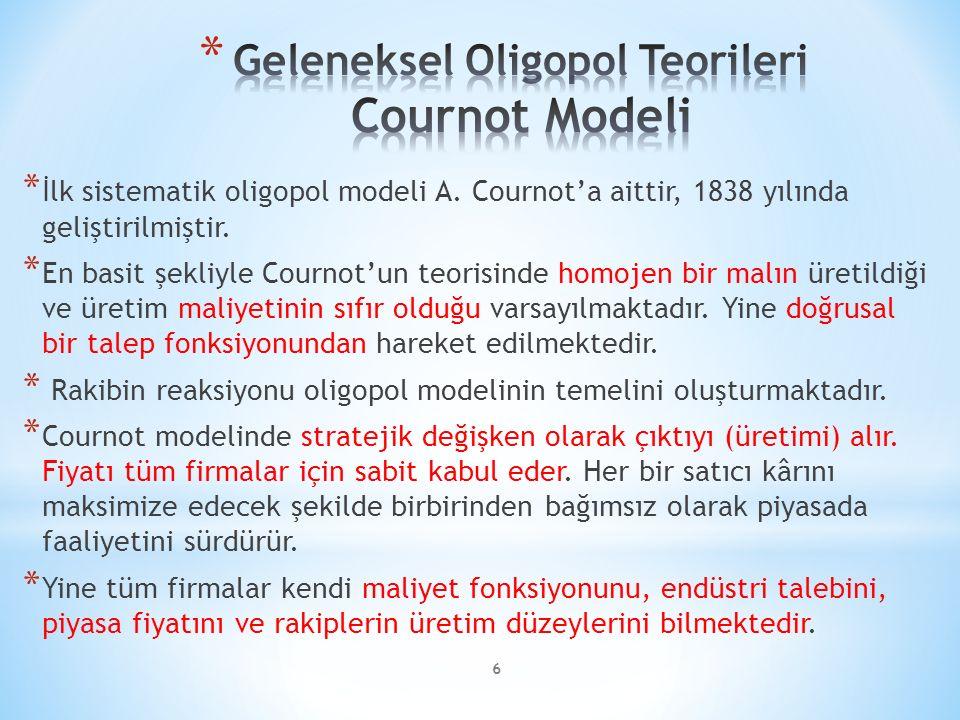 * İlk sistematik oligopol modeli A. Cournot'a aittir, 1838 yılında geliştirilmiştir.
