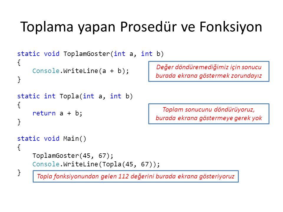 Toplama yapan Prosedür ve Fonksiyon static void ToplamGoster(int a, int b) { Console.WriteLine(a + b); } static int Topla(int a, int b) { return a + b; } static void Main() { ToplamGoster(45, 67); Console.WriteLine(Topla(45, 67)); } Değer döndüremediğimiz için sonucu burada ekrana göstermek zorundayız Toplam sonucunu döndürüyoruz, burada ekrana göstermeye gerek yok Topla fonksiyonundan gelen 112 değerini burada ekrana gösteriyoruz