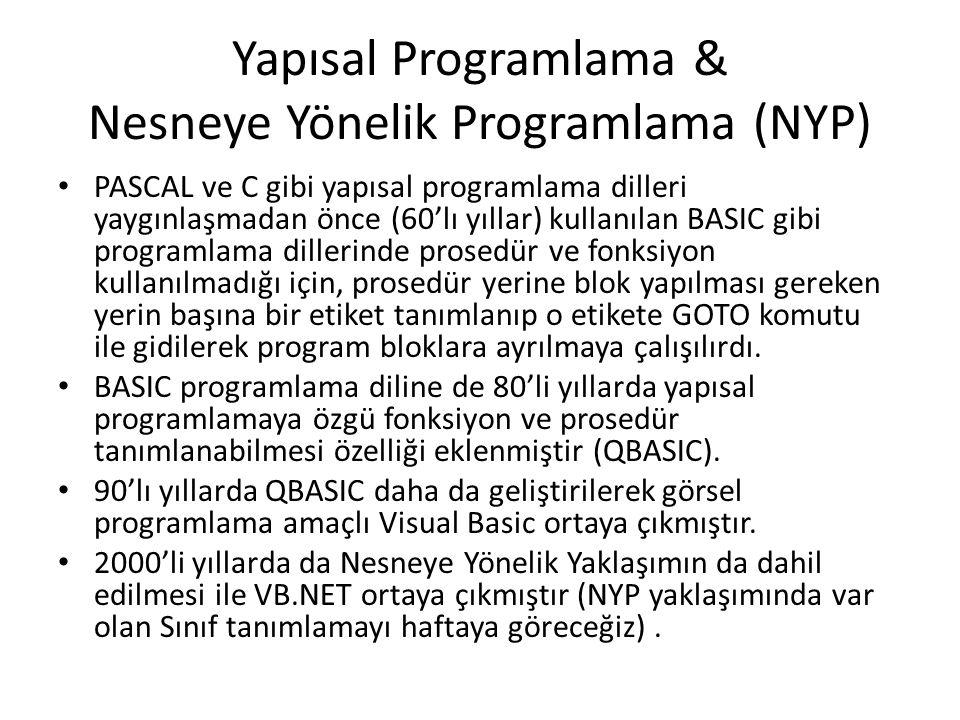 Yapısal Programlama & Nesneye Yönelik Programlama (NYP) PASCAL ve C gibi yapısal programlama dilleri yaygınlaşmadan önce (60'lı yıllar) kullanılan BASIC gibi programlama dillerinde prosedür ve fonksiyon kullanılmadığı için, prosedür yerine blok yapılması gereken yerin başına bir etiket tanımlanıp o etikete GOTO komutu ile gidilerek program bloklara ayrılmaya çalışılırdı.