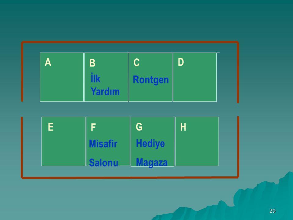 29 A B C D E F G H İlk Yardım Rontgen Misafir Salonu Hediye Magaza