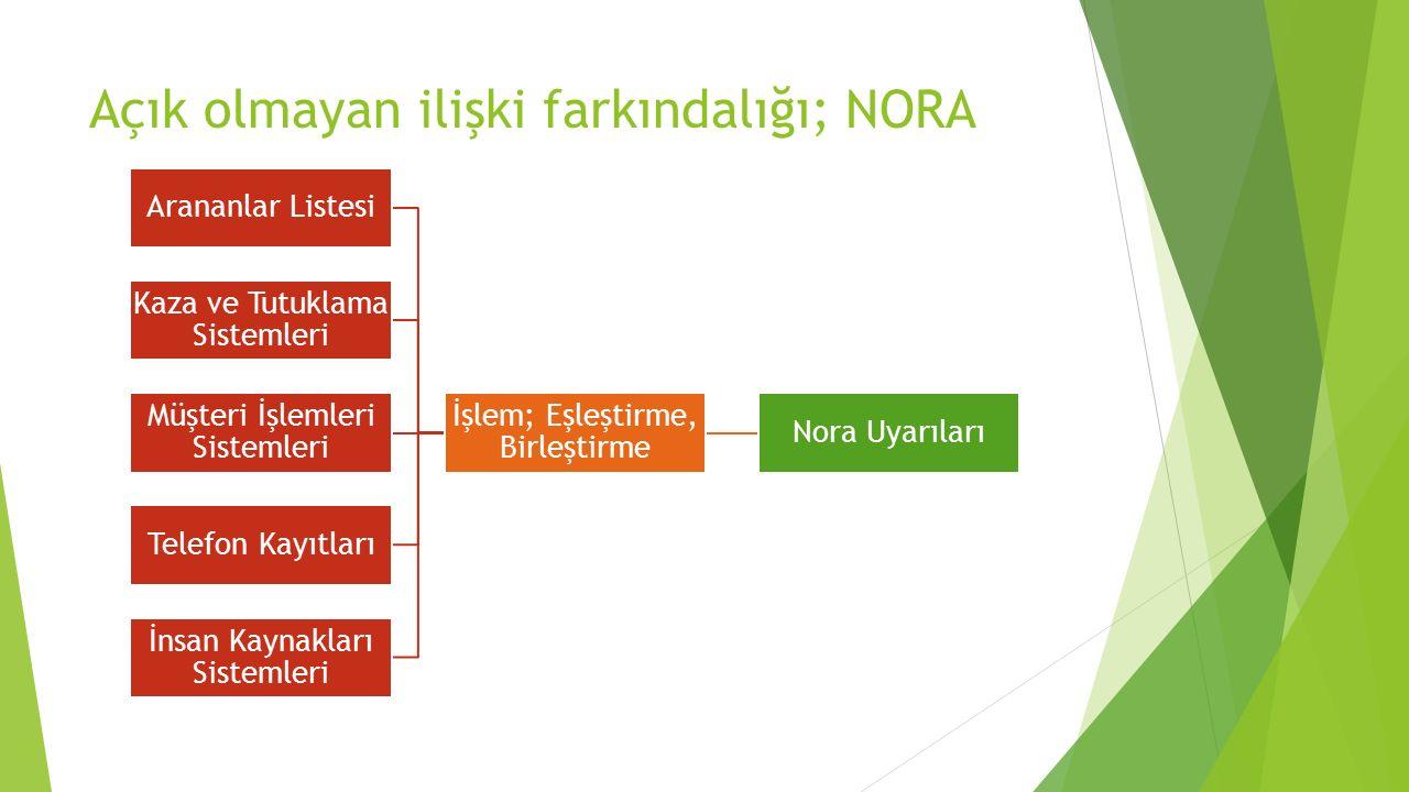 Açık olmayan ilişki farkındalığı; NORA Nora Uyarıları İşlem; Eşleştirme, Birleştirme Arananlar Listesi Kaza ve Tutuklama Sistemleri Müşteri İşlemleri Sistemleri Telefon Kayıtları İnsan Kaynakları Sistemleri