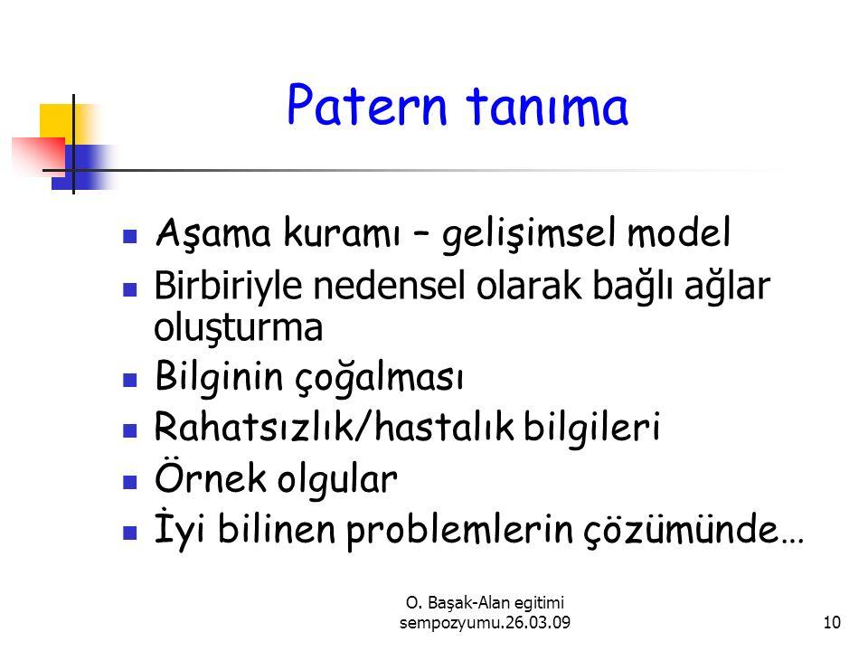 O. Başak-Alan egitimi sempozyumu.26.03.0910 Patern tanıma Aşama kuramı – gelişimsel model Birbiriyle nedensel olarak bağlı ağlar oluşturma Bilginin ço