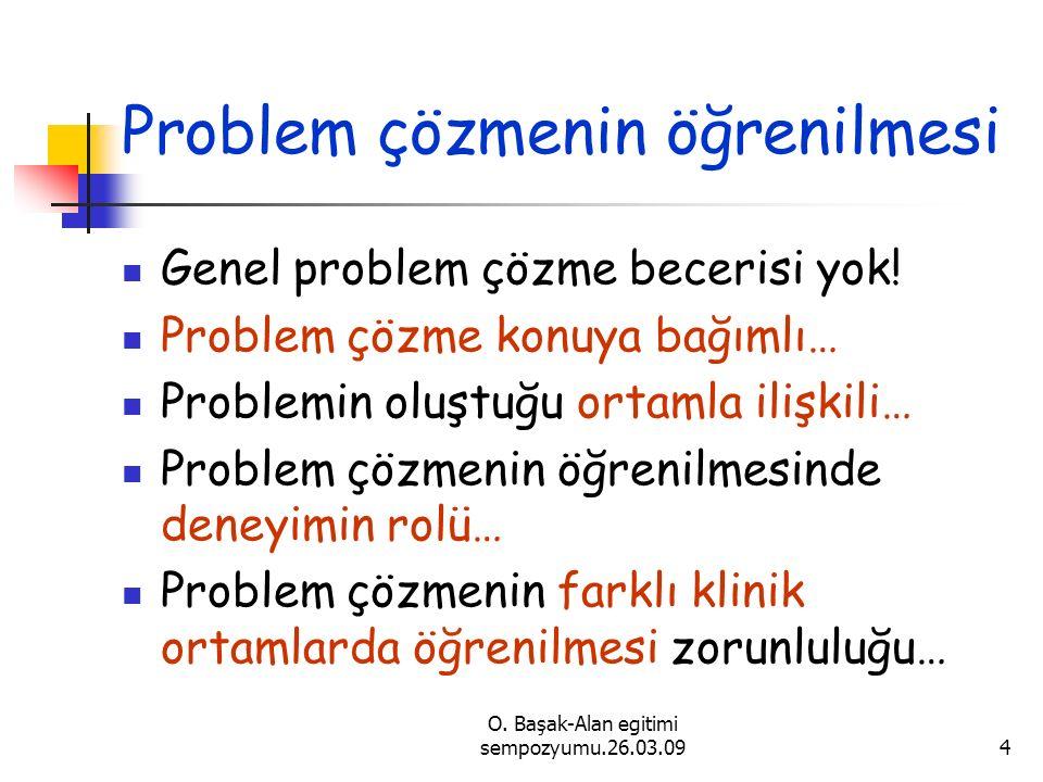 O. Başak-Alan egitimi sempozyumu.26.03.094 Problem çözmenin öğrenilmesi Genel problem çözme becerisi yok! Problem çözme konuya bağımlı… Problemin oluş