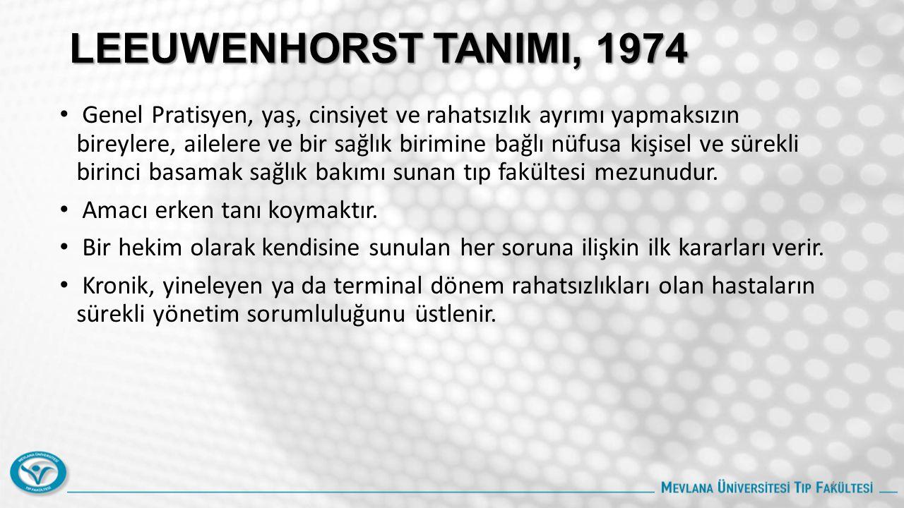 LEEUWENHORST TANIMI, 1974 Genel Pratisyen, yaş, cinsiyet ve rahatsızlık ayrımı yapmaksızın bireylere, ailelere ve bir sağlık birimine bağlı nüfusa kişisel ve sürekli birinci basamak sağlık bakımı sunan tıp fakültesi mezunudur.