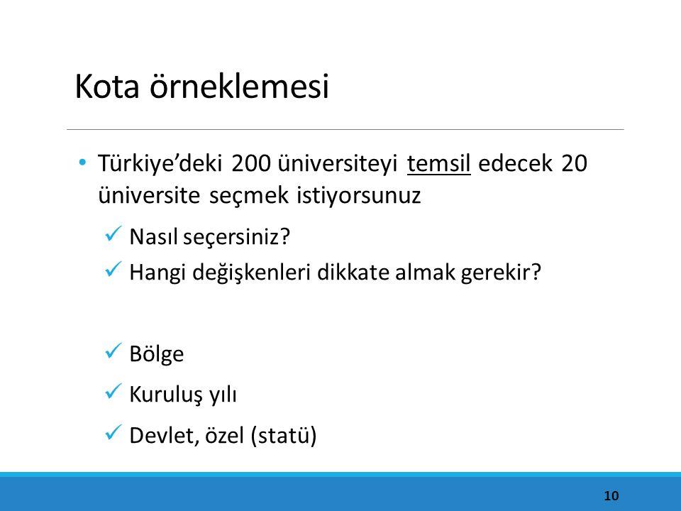 Kota örneklemesi Türkiye'deki 200 üniversiteyi temsil edecek 20 üniversite seçmek istiyorsunuz Nasıl seçersiniz.