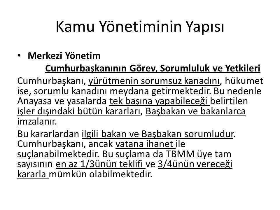 Kamu Yönetiminin Yapısı Merkezi Yönetim Cumhurbaşkanının Görev ve Yetkileri (YASAMA) Gerekli gördüğü takdirde, yasama yılının ilk günü Türkiye Büyük Millet Meclisinde açılış konuşmasını yapmak, Türkiye Büyük Millet Meclisini gerektiğinde toplantıya çağırmak, Kanunları yayımlamak, Kanunları tekrar görüşülmek üzere Türkiye Büyük Millet Meclisine geri göndermek