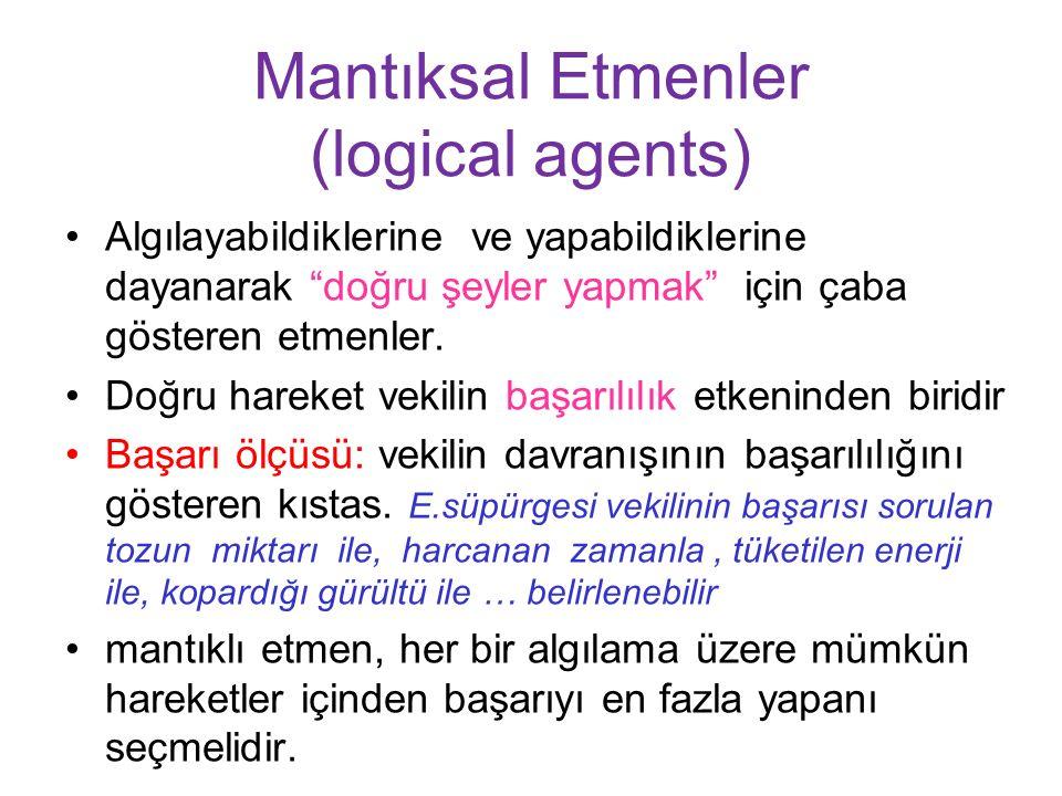Mantıksal Etmenler (logical agents) Algılayabildiklerine ve yapabildiklerine dayanarak doğru şeyler yapmak için çaba gösteren etmenler.