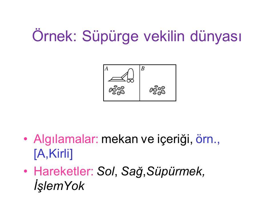 Örnek: Süpürge vekilin dünyası Algılamalar: mekan ve içeriği, örn., [A,Kirli] Hareketler: Sol, Sağ,Süpürmek, İşlemYok