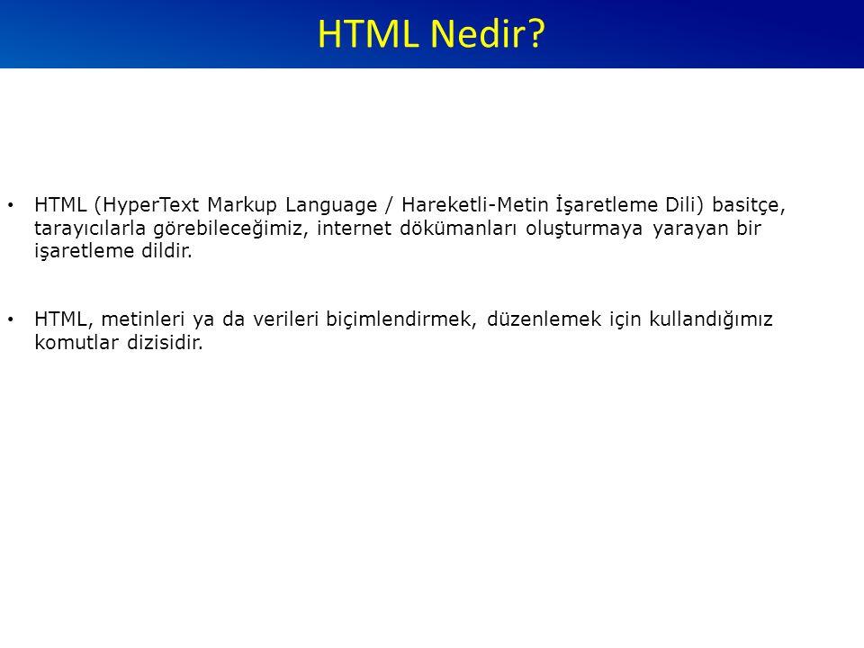 Oluşturulan HTML dosyalarının tarayıcıda (browser) görsellik kazanabilmesi için dosya uzantısının.htm.html HTML dili bize bir sayfada bulunabilecek metin, resim, ses ve video gibi içeriklerin sayfadaki yerleşimini gösteren komutlar sunar.