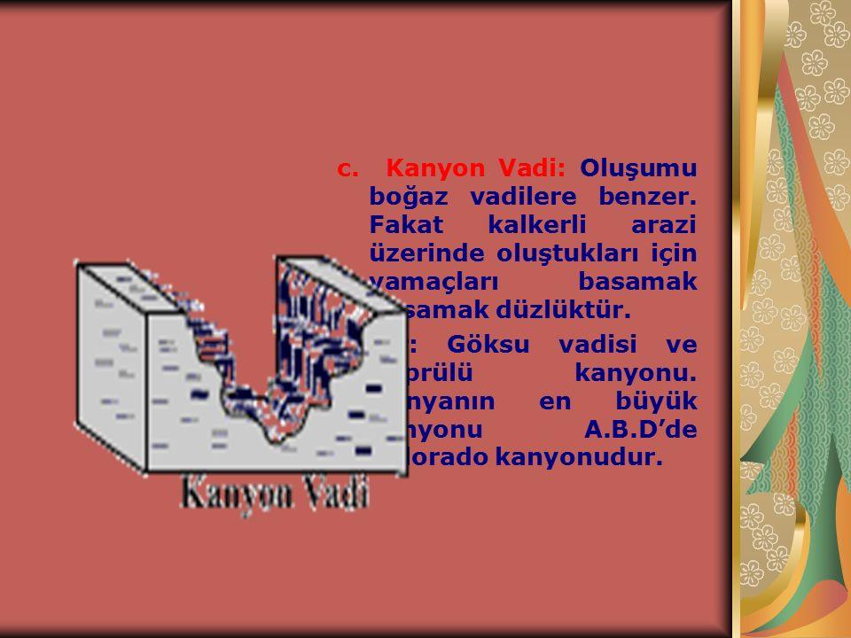 """b. Boğaz (yarma ) vadi: Akarsular tarafından dağların enine yarılması sonucu oluşan ve profilleri """"u"""" harfine benzeyen vadilerdir. Türkiye'de en fazla"""