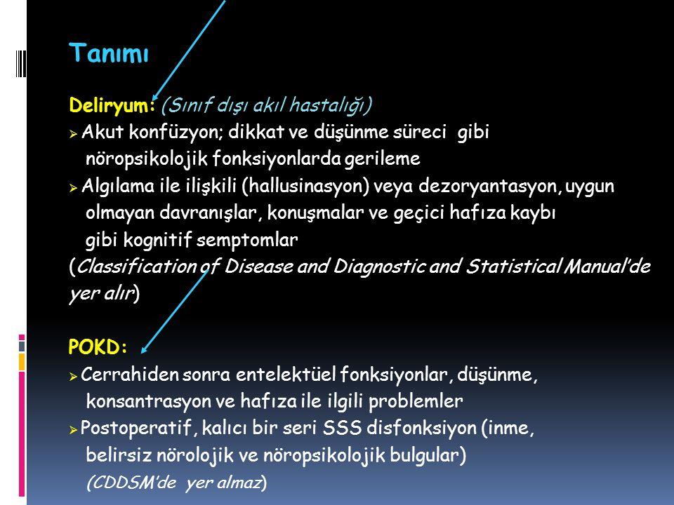 Deliryum: (Sınıf dışı akıl hastalığı)  Akut konfüzyon; dikkat ve düşünme süreci gibi nöropsikolojik fonksiyonlarda gerileme  Algılama ile ilişkili (