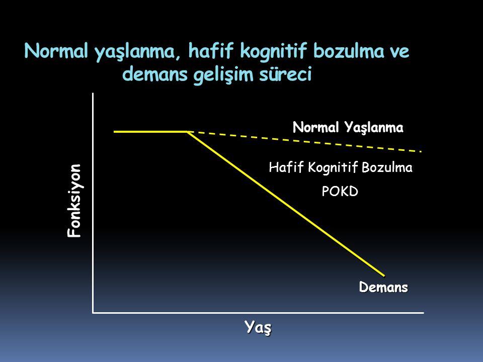 Normal yaşlanma, hafif kognitif bozulma ve demans gelişim süreci Hafif Kognitif Bozulma POKD Demans Yaş Fonksiyon Normal Yaşlanma